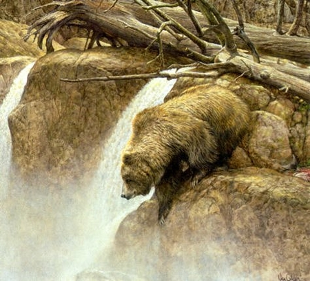 "Ron Van Gilder Handsigned and Numbered Limited Edition:""Going Fishin' - Grizzly Bear"""