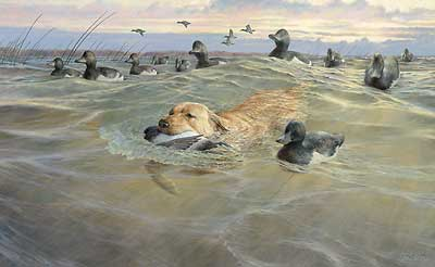 "Ron Van Gilder Handsigned and Numbered Limited Edition Print: ""His Time to Shine-Yellow Lab"""