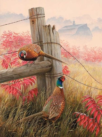 "Rosemary Millette Handsigned and Numbered Limited Edition Print:""Lifting Fog – Pheasants"""