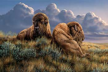 """Rosemary Millette Handsigned and Numbered Limited Edition Print: """"The Old Timers-Bison"""""""