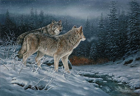"""Rosemary Millette Handsigned & Numbered Limited Edition Artist Proof  Print:""""Twilight Hunters - Wolves """""""