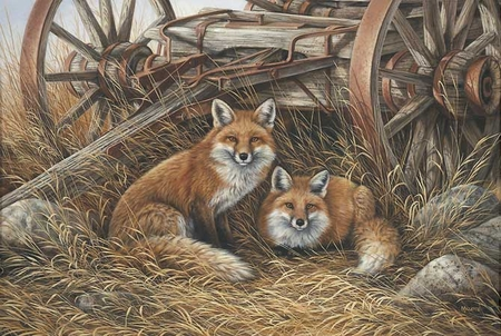 """Rosemary Millette Handsigned & Numbered Limited Edition Print:""""Rustic Retreat-Red Fox"""""""