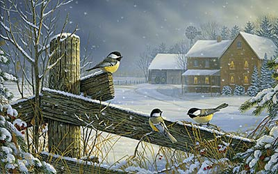 "Sam Timm Limited Edition Print:""Winter Chickadees"""