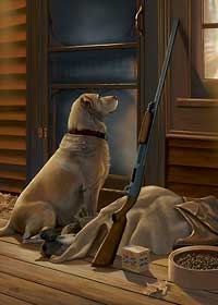 "Scot Storm Handsigned Open Edition:""Opening Day-Yellow Lab"""
