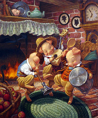"Scott Gustafson Limited Edition Classic Fairy Tales Print w/ book: ""Three Little Pigs - Collector Set"""