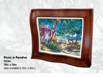 "Steve Barton Wavy Framed Limited Edition Canvas: ""Picnic In Paradise"""