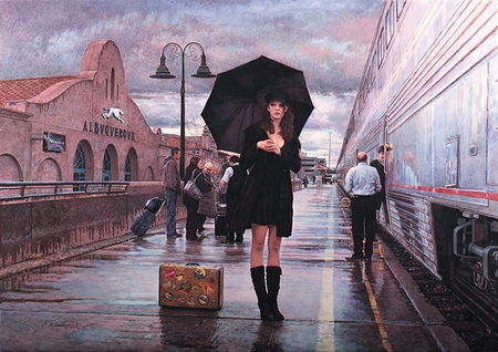"""Steve Hanks Hand Signed and Numbered Limited Edition Giclee Print:""""There Are Places to Go"""""""