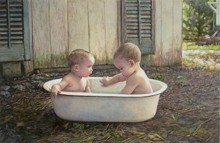 """Steve Hanks Hand Signed and Numbered Limited Edition Print:""""Baby Bath"""""""