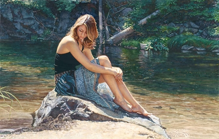 """Steve Hanks Handsigned and Numbered Limited Edition Giclee on Paper :""""Listening to the River"""""""