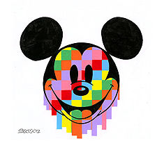 "Tennessee Loveless Signed and Numbered Limited Edition Giclée on Canvas:""Mickey Pixel Drip"""