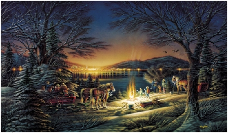 "Terry Redlin 13th Anniversary Handsigned & Numbered Limited Edition Christmas Print:""Heartland Lights"""