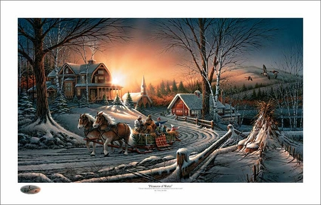 "Terry Redlin Holiday Limited Edition Christmas Print:""The Pleasures of Winter"""