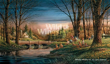 """Terry Redlin Hand Signed and Numbered Limited Edition Master Canvas:""""Spring Fishing"""""""