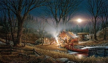 "Terry Redlin Museum Edition Oversize Canvas:""Campfire Tales"""