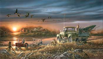 "Terry Redlin Handsigned and Numbered Limited Edition: ""Patiently Waiting W/ Companion print"""