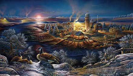 """Terry Redlin Handsigned and Numbered Limited Edition Print:""""Moonlight Frost"""""""