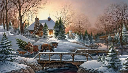"Terry Redlin Limited Edition Handsigned & Numbered 2006 Christmas Print:""Heading Home (Remarque) """