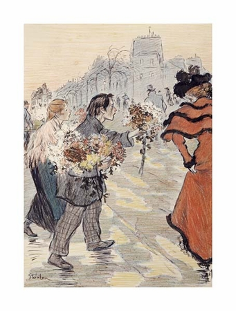 "Theophile Steinlen Fine Art Open Edition Giclée:""A Street Scene with Flower Vendors"""