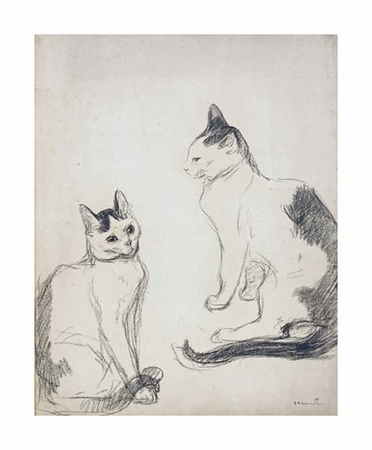 "Theophile Steinlen Fine Art Open Edition Giclée:""The Two Cats"""