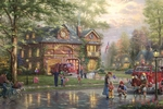 "Thomas Kinkade Limited Edition Giclee on Paper and Canvas:""Hometown Firehouse"""