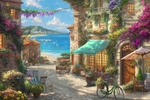 "Thomas Kinkade Limited Edition Giclee on Paper and Canvas:""Italian Cafe """