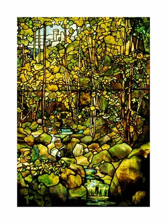 "Tiffany Studios Fine Art Open Edition Giclée:""A Leaded Glass Window of a Woodland Scene"""