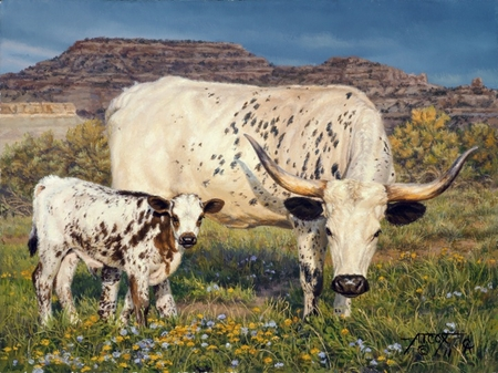 "Tim Cox Artist Hand-Signed and Numbered Limited Edition Print: ""Spring (Longhorn and Calf)"""