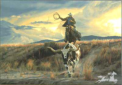 """Tim Cox Handsigned and Numbered Limited Edition Print:""""Bringing Home The Ranch Pet"""""""