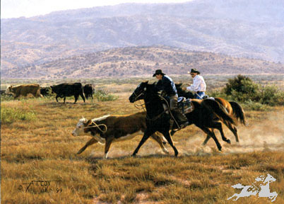 "Tim Cox Handsigned and Numbered Limited Edition Print:""Cordoza Cowboys"""