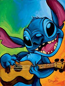 "Tim Rogerson Handsigned and Numbered  Giclee on Canvas:"" Lilo and Stitch - Stitch"""
