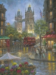 """Robert Finale Artist Signed Limited Edition Sublimation on Metal:""""Rainy Days of London - Color"""""""