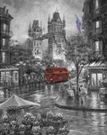 """Robert Finale Artist Signed Limited Edition Sublimation on Metal:""""Rainy Days of London- B&W"""""""