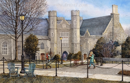 "Nicholas Santoleri Hand Signed and Numbered Limited Edition Print:""West Chester University (Philips Memorial Hall)"""