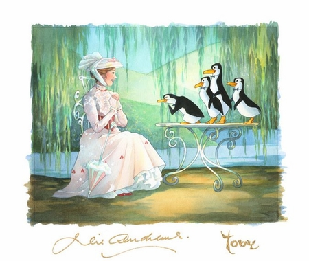 """Toby Bluth Artist Signed Limited Edition Hand Deckled Giclee on Paper:""""Mary Poppins and Merry Penguins"""""""