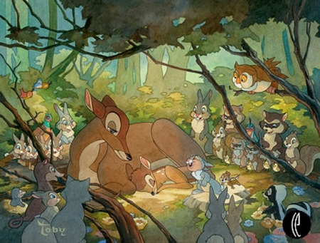 "Toby Bluth Handsigned & Numbered Limited Edition Giclee on Paper:""Bambi and His Mother"""
