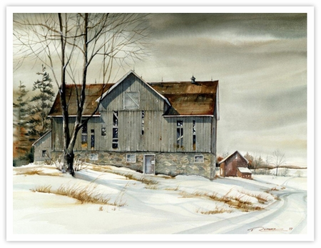 "Trisha Romance Hand Signed and Numbered Limited Edition Giclee:""Ontario Barn"""