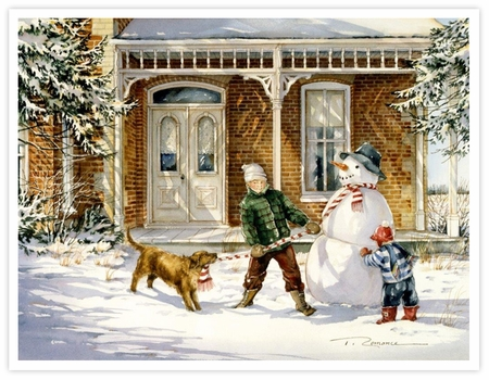"Trisha Romance Hand Signed and Numbered Limited Edition Giclee:""The Snowman"""