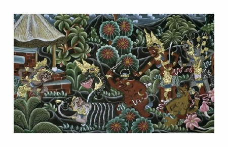 "Unknown Fine Art Open Edition Giclée:""Carved Wood Panel with a Mythological Motif from Bali"""