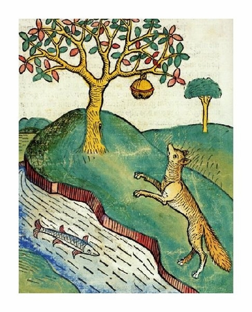 "Unknown Fine Art Open Edition Giclée:""Fox Jumping for Beehive by a River with Fish"""