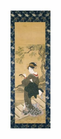 "Utagawa Toyokuni Fine Art Open Edition Giclée:""Portrait of a Woman Tuning Her Shamisen on a Veranda"""