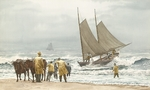 "Victor Mays Open Edition Gallery Wrap Canvas Giclee:""Block Island Boat Beaching"""