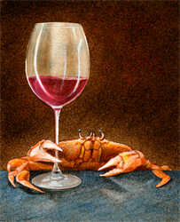 "Will Bullas Fine Art Open Edition Canvas :""Crab and Cab"""