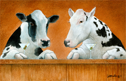 "Will Bullas Fine Art Open Edition Canvas :""Moo Moos and Martinis"""