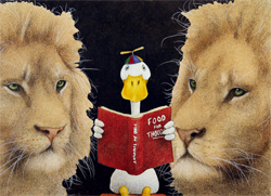 "Will Bullas Fine Art Open Edition Canvas :""Reading Between the Lions"""