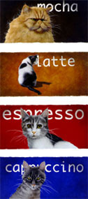 """Will Bullas Fine Art Signed Open Edition Paper :""""The Coffee Cats"""""""