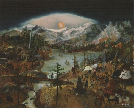 "Will Moses Handsigned & Numbered Limited Edition Lithograph Print :""Red Moon Rising"""