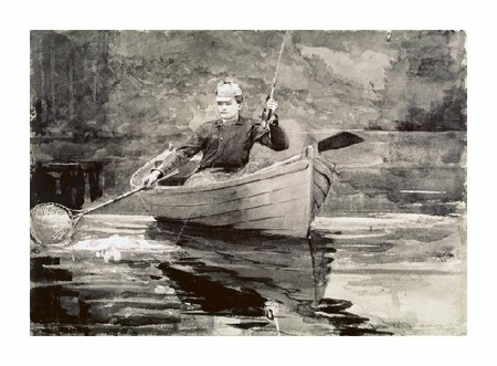 "Winslow Homer Fine Art Open Edition Giclée:""Fly Fishing, Saranac"""
