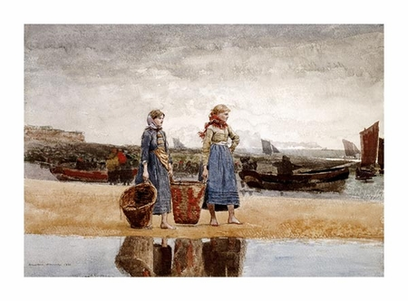 "Winslow Homer Fine Art Open Edition Giclée:""Two Girls on the Beach, Tynemouth"""
