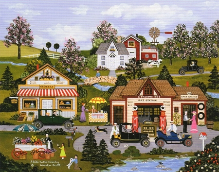 """Wooster Scott Hand Signed and Numbered Limited Edition Print: """"A Ride in the Country"""""""