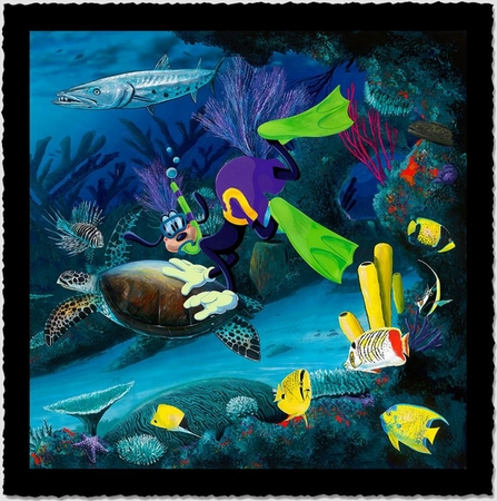 "Wyland Artist Signed Limited Edition Giclee on Hand Deckled Paper:""Goofy Diver"""